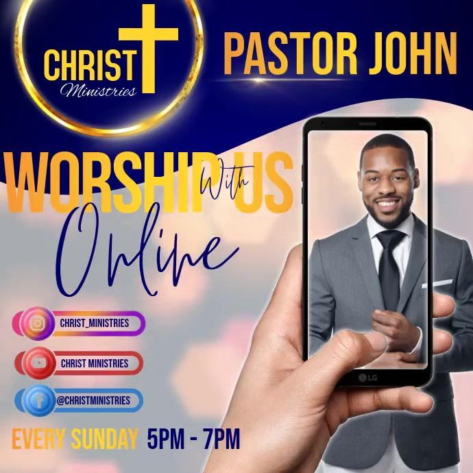 CHURCH WATCH ONLINE LIVE AD Publicación de Instagram template