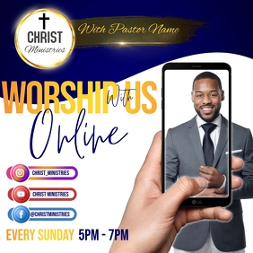 CHURCH WATCH ONLINE LIVE AD Instagram Post template