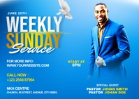 Church weekly service ads Postal template