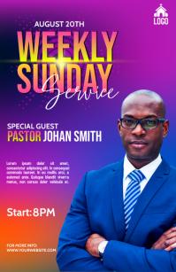 Church weekly service Полстраницы широкого формата template