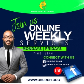 CHURCH WEEKLY SERVICES Instagram Post template