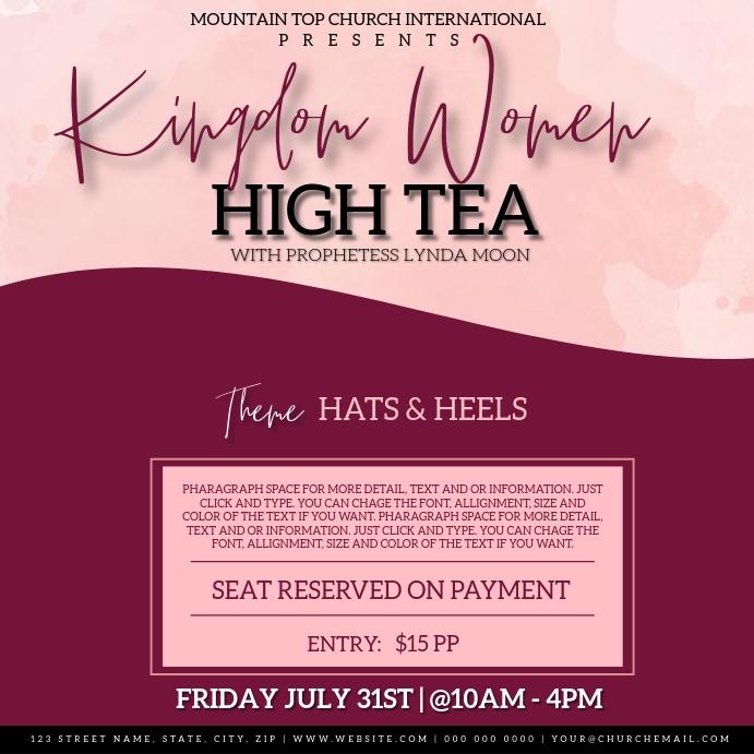 CHURCH WOMEN'S LADIES DAY HIGH TEA EVENT 方形(1:1) template