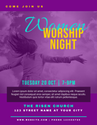 Church Women Worship Night Flyer Template