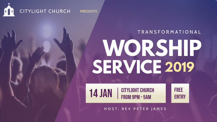 church worship flyer Digitale display (16:9) template