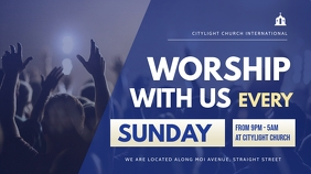 church worship flyer Digital Display (16:9) template
