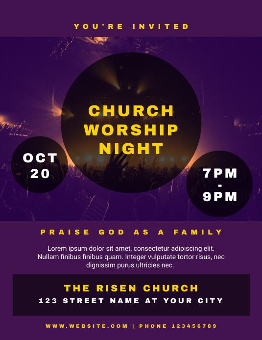 Church Worship Night Flyer Template