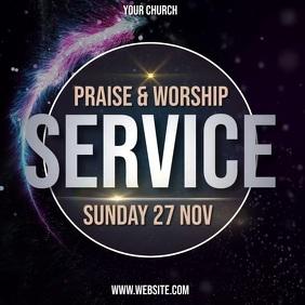 church worship service ad template Publicación de Instagram