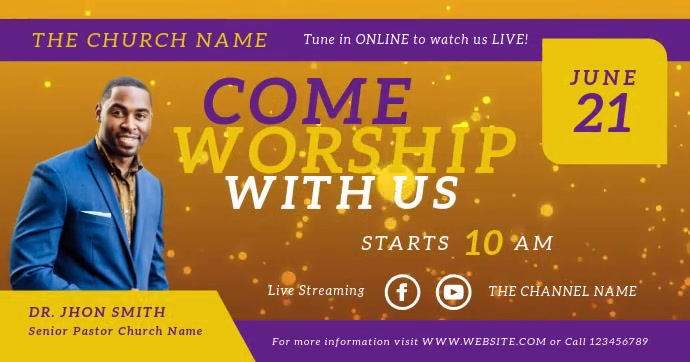 Church Worship Sunday Service Video auf Facebook geteiltes Bild template