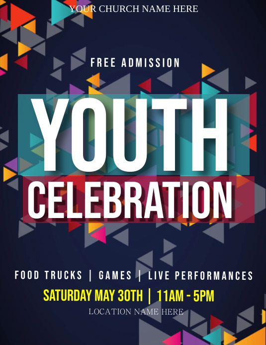 Church Youth Celebration Event Flyer Template Pamflet (Letter AS)