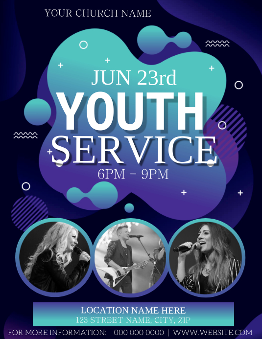 Church Youth Conference Flyer Template Pamflet (Letter AS)
