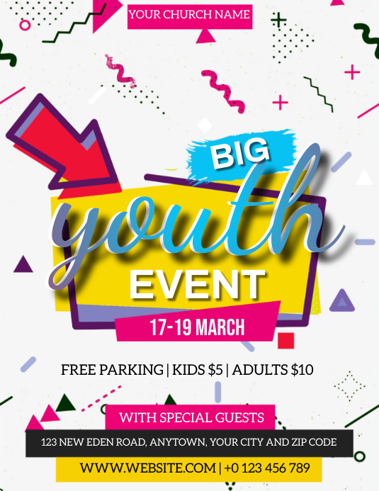 CHURCH YOUTH EVENT FLYER TEMPLATE ใบปลิว (US Letter)