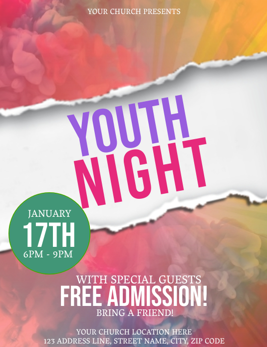 Church Youth Night Event Flyer Template Løbeseddel (US Letter)