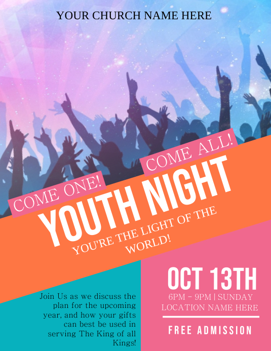 Church YOUTH NIGHT Flyer Template Pamflet (Letter AS)