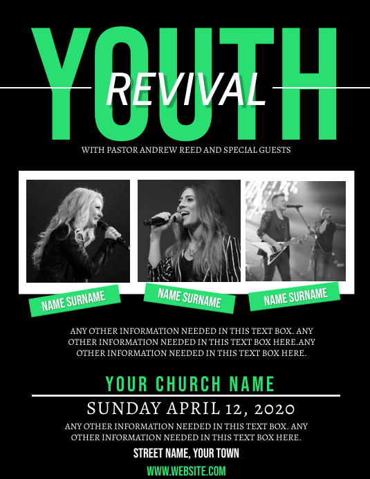 Church Youth Revival Event Flyer Template Pamflet (Letter AS)