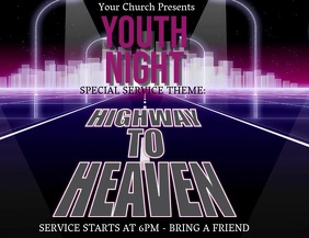 Church Youth Service Video Ad Template Flyer (US Letter)