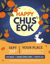 chuseok, harvest, mid autumn Flyer (US Letter) template