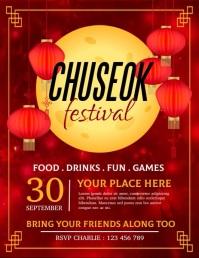 chuseok, mid autumn, chuseok festival Рекламная листовка (US Letter) template