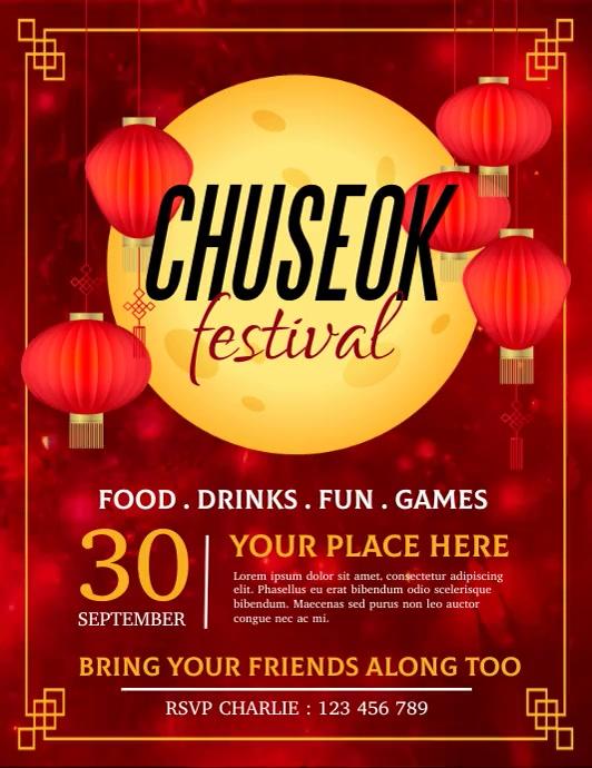 chuseok, mid autumn, chuseok festival Folder (US Letter) template