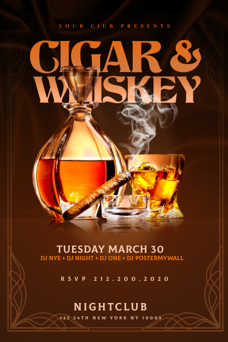 CIGAR & WHISKEY Flyer Template Spanduk 4' × 6'