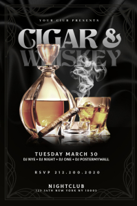 CIGAR & WHISKEY Flyer Template Баннер 4' × 6'