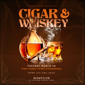 CIGAR & WHISKEY Instagram Flyer Template