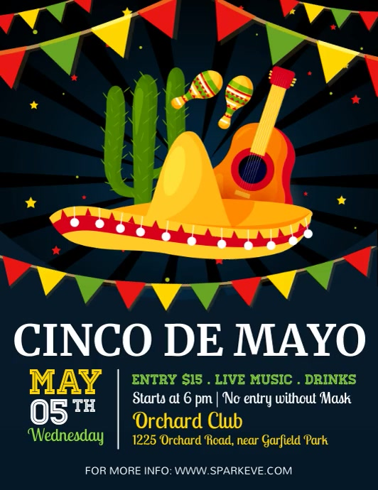 cinco de mayo, cinco de mayo video Flyer (US Letter) template