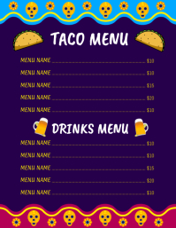 Cinco de mayo,menu Volante (Carta US) template