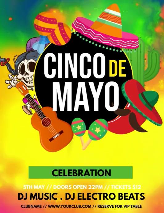 cinco de mayo ,Carnival, Masquerade Party Flyer (Letter pang-US) template