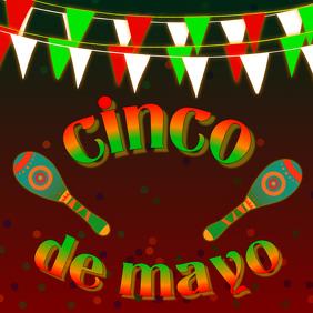 cinco de mayo - banderas y maracas - digital image template
