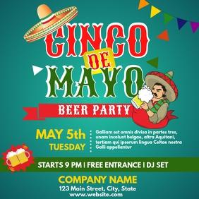 Cinco de mayo beer party flyer advertisement Publicação no Instagram template