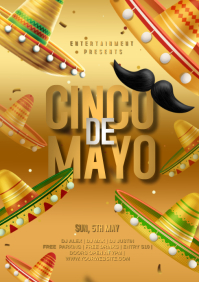 Cinco de mayo golden poster A4 template