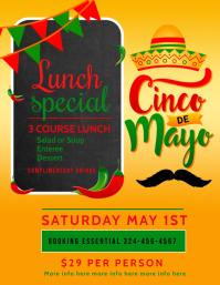 cinco de mayo lunch menu, cinco de mayo Ulotka (US Letter) template
