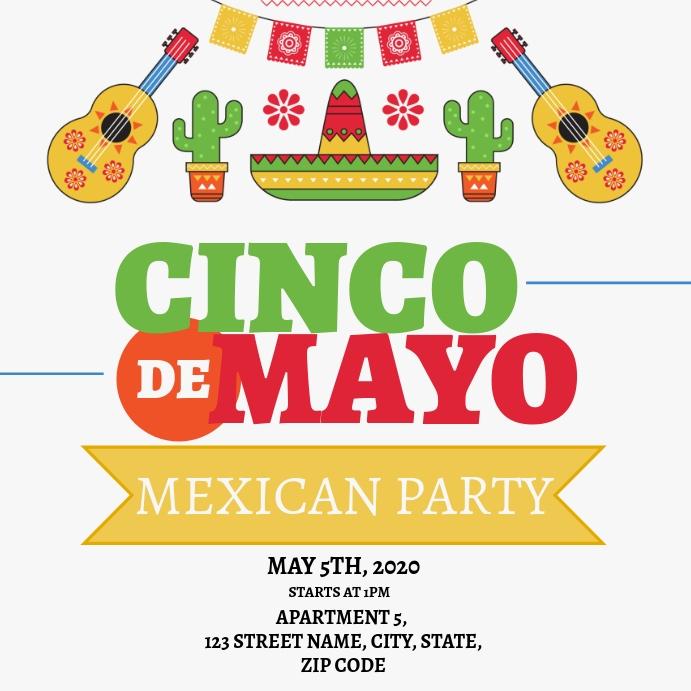 Cinco De Mayo Mexican Party Flyer Template Square (1:1)