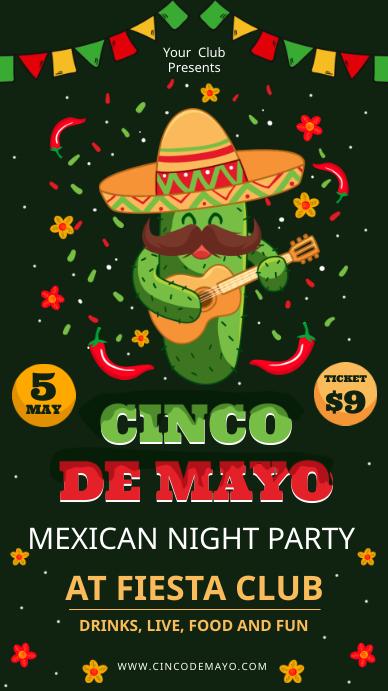 Cinco de Mayo Mexican Party Invitation Цифровой дисплей (9 : 16) template