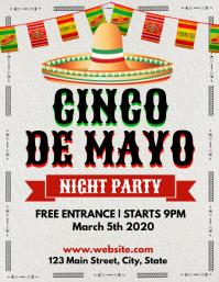 cinco de mayo night party flyer template desi Volante (Carta US)