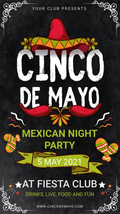 Cinco de Mayo Party at Club Digital Signage Цифровой дисплей (9 : 16) template