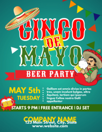 Cinco de Mayo party event flyer advertisement Volante (Carta US) template