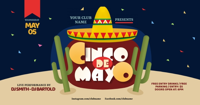 Cinco de Mayo Party Facebook Shared Image template