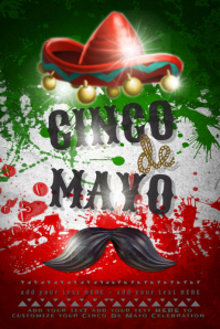 Cinco De Mayo Spanish Flyer Mexico Mustache Sombrero Flag Business Ad Event Poster
