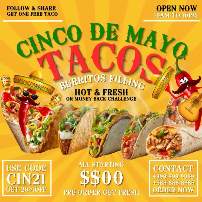 Cinco De Mayo Tacos Template Pos Instagram
