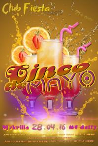 Cinco de Mayo Tequila Sunrise Club Adult Bar Band DJ Spanish Fiesta Event Flyer Ad Business Mexican