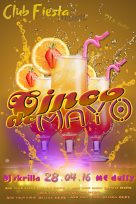 Cinco de Mayo Tequila Sunrise Club Adult Bar Band DJ Spanish Fiesta Event Flyer Ad Business Mexican