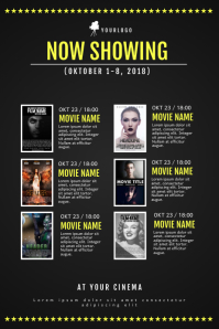 Cinema movie schedule calendar template