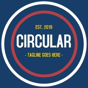 circular logo on blue background