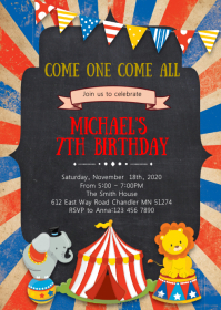 Circus Birthday Party Invitation A6 template