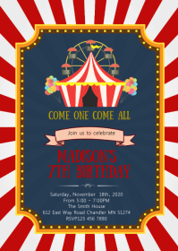 Circus carnival Birthday Party Invitation A6 template
