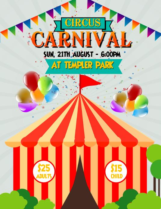 Circus Carnival Flyer Volante (Carta US) template