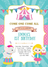 Circus girl birthday party invitation A6 template