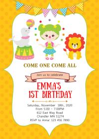 Circus girl birthday party invitation