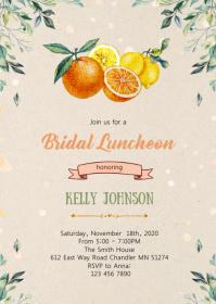 Citrus bridal shower invitation A6 template